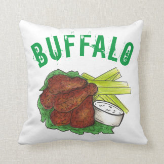 Buffalo New York NY BBQ Barbecue Chicken Wings Throw Pillow