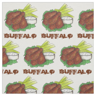 Buffalo New York NY BBQ Chicken Wing WIngs Fabric