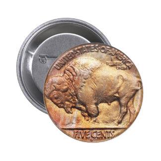Buffalo Nickel Coin Collector Vintage Hobby 2 Inch Round Button