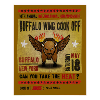 Buffalo, NY - Fire Hot Buffalo Wing Cook-Off Poster