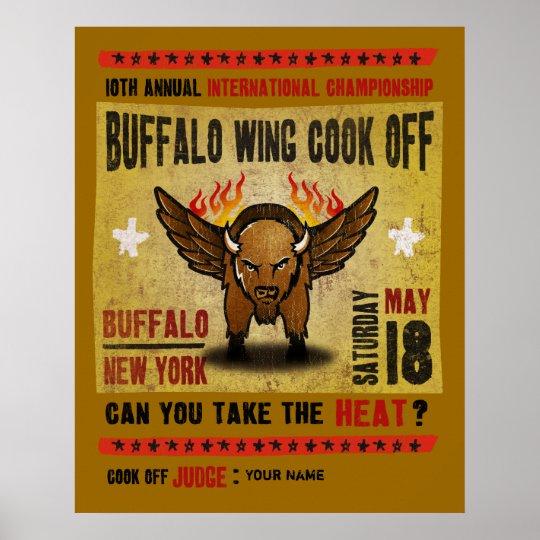 Buffalo Ny Fire Hot Buffalo Wing Cook Off Poster