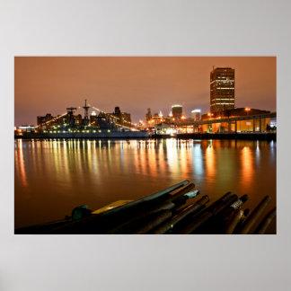 Buffalo, NY @ night Poster