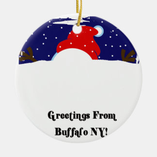 Buffalo NY Snowman Ceramic Ornament
