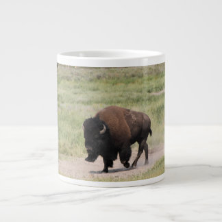 Buffalo on the move, Photography, Customize text Large Coffee Mug