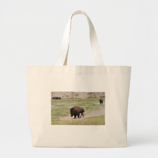 Buffalo on the move, Photography Large Tote Bag