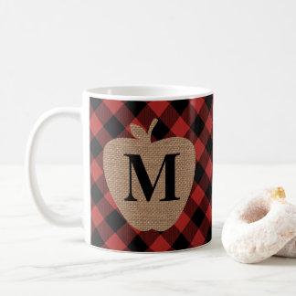Buffalo Plaid and Burlap Monogram Apple Coffee Mug