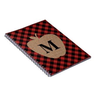 Buffalo Plaid and Burlap Monogram Apple Notebooks