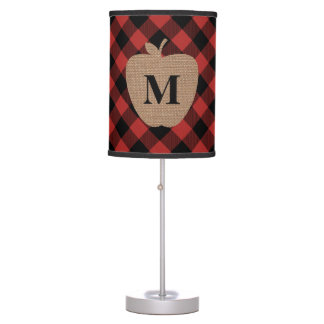 Buffalo Plaid and Burlap Monogram Apple Table Lamp