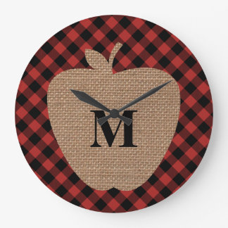 Buffalo Plaid and Burlap Monogram Apple Wallclock