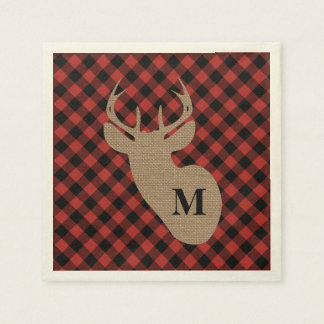 Buffalo Plaid and Burlap Monogram Deer Disposable Napkins