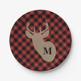 Buffalo Plaid and Burlap Monogram Deer Paper Plate