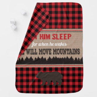 Buffalo Plaid Bear Baby Blanket Move Mountains