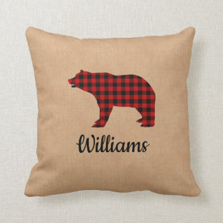 Buffalo Plaid Bear Personalized Burlap Throw Pillow