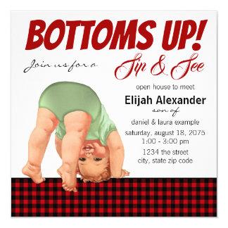 Buffalo Plaid Boy Sip and See Invitations