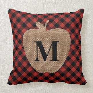 Buffalo Plaid Burlap Apple Monogram Teacher Throw Pillow