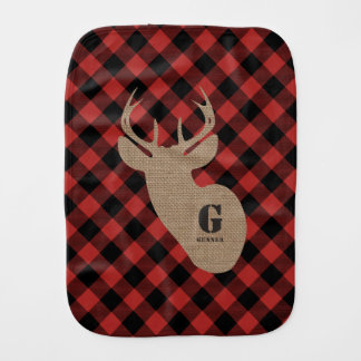 Buffalo Plaid Burlap Buck Deer Burp Cloth