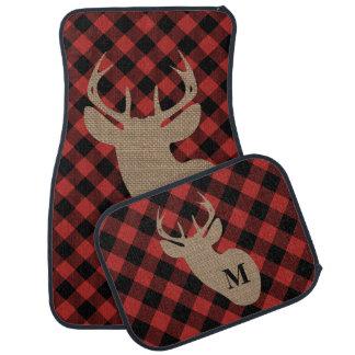 Buffalo Plaid Burlap Deer Head Monogram Car Mat