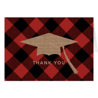 Buffalo Plaid Burlap Graduation Cap Thank You Card