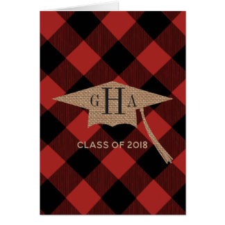 Buffalo Plaid Burlap Graduation Photo Announcement