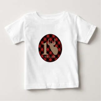 Buffalo Plaid Burlap Inspired Deer Birthday Shirt