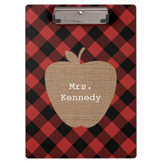 Buffalo Plaid Burlap Personalized Teacher Apple Clipboard