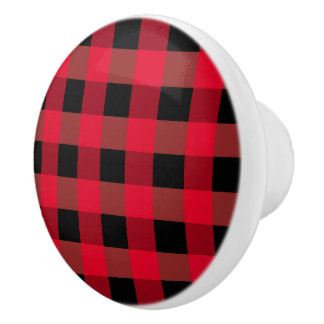 Buffalo plaid ceramic knob
