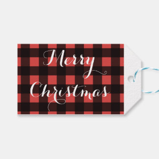 Buffalo plaid Christmas gift tags
