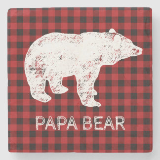 Buffalo Plaid Coaster - Papa Bear