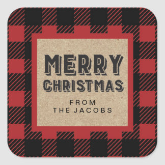 Buffalo Plaid Customizable Merry Christmas Sticker