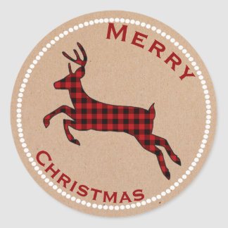 Buffalo Plaid Deer Holiday Stickers