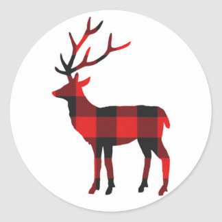 Buffalo Plaid Deer | Holiday Stickers