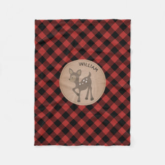 Buffalo Plaid Deer Kids Fleece Blanket