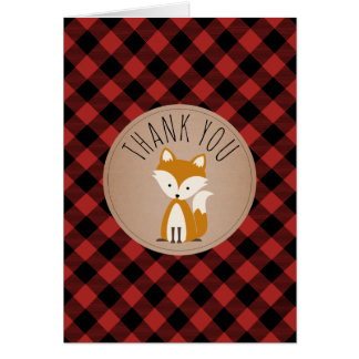 Buffalo Plaid Fox Baby Shower Thank You Card