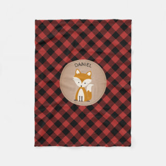 Buffalo Plaid Fox Kids Fleece Blanket