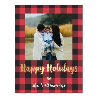 Buffalo Plaid & Gold Happy Holidays Photo Postcard