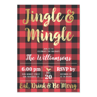 Buffalo Plaid & Gold Jingle & Mingle Holiday Party Magnetic Card