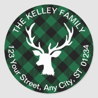 Buffalo Plaid Green and Black Holiday Address Classic Round Sticker