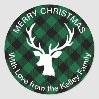 Buffalo Plaid Green and Black Holiday Classic Round Sticker
