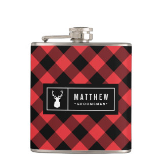Buffalo Plaid Groomsman Hip Flask