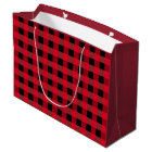 Buffalo plaid large gift bag