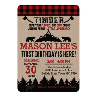 Buffalo Plaid Lumberjack First Birthday Invitation