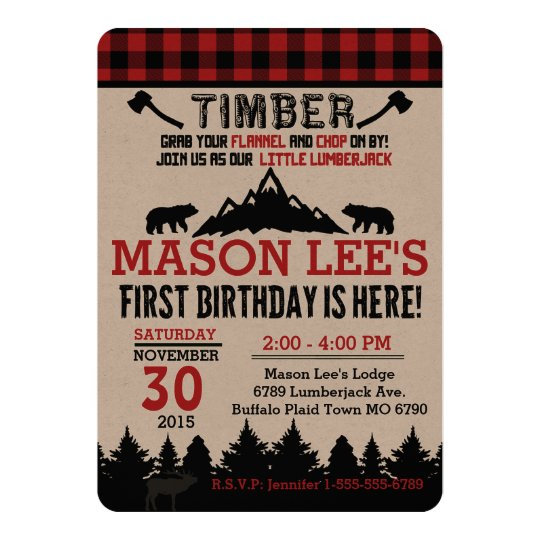 Buffalo Plaid Lumberjack First Birthday Invitation | Zazzle.ca