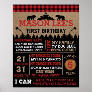 Buffalo Plaid Lumberjack First Birthday Poster