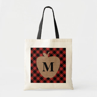 Buffalo Plaid Monogram Apple Teacher Bag