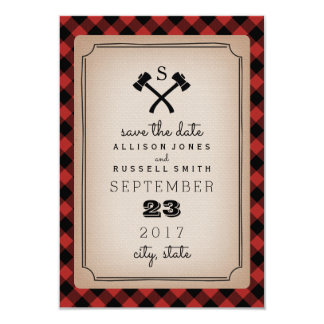 Buffalo Plaid Monogram Axe Save The Date Card
