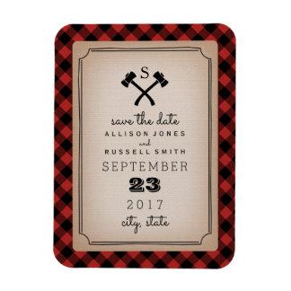 Buffalo Plaid Monogram Axe Save The Date Rectangular Photo Magnet