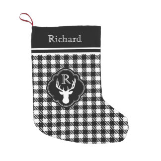 Buffalo Plaid Monogram Deer Head Small Christmas Stocking