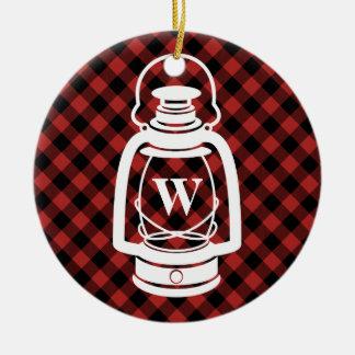 Buffalo Plaid Monogram Lantern Round Ceramic Ornament