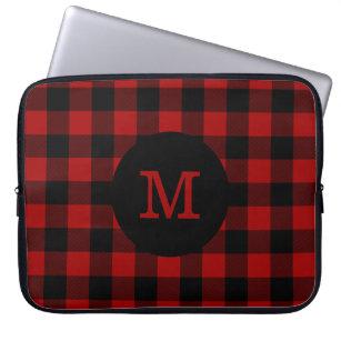 Buffalo Plaid Monogram Laptop Sleeve