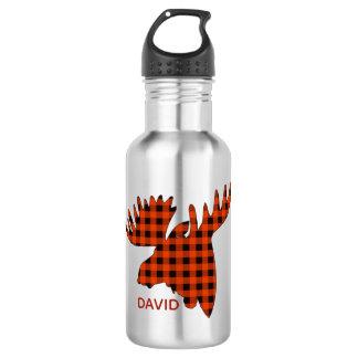 Buffalo Plaid Moose Head Silhouette 532 Ml Water Bottle